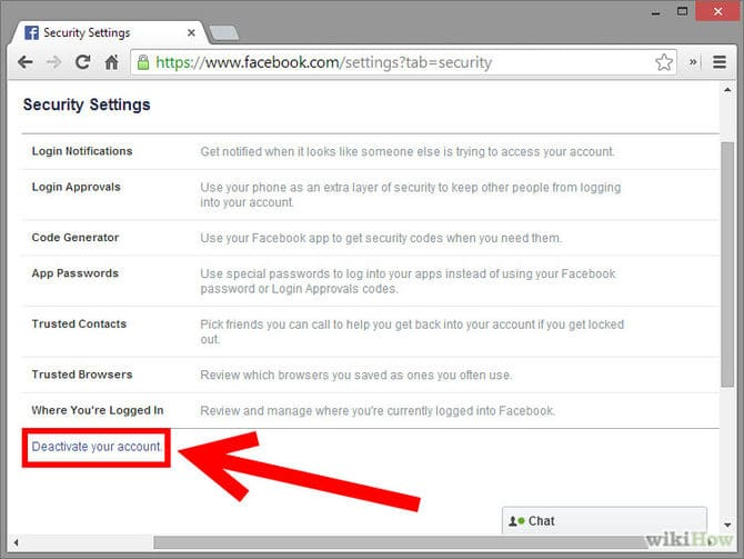 """3- في القائمة الجانبية انقر على خيار """"الأمان"""" (Security ) ثم انقر على  """"إلغاء تنشيط حسابك"""" (Deactivate Your Account) ثم تابع تأكيد العملية."""