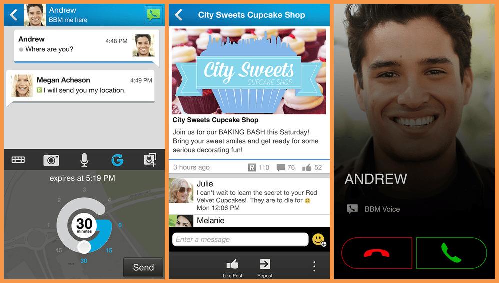 تطبيق بي بي ام للايفون الشات والدردشة الفردية و التسوق و نظام الكاميرات والمكالمات الصوتية