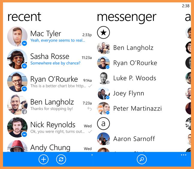 تطبيق فيس بوك ماسنجر للويندوز فون