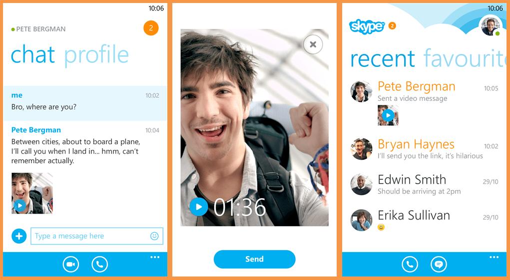تطبيق سكايب ويندوز فون لقطات لعرض جودة الفيديو وخيارات الرسائل النصية وغيرها