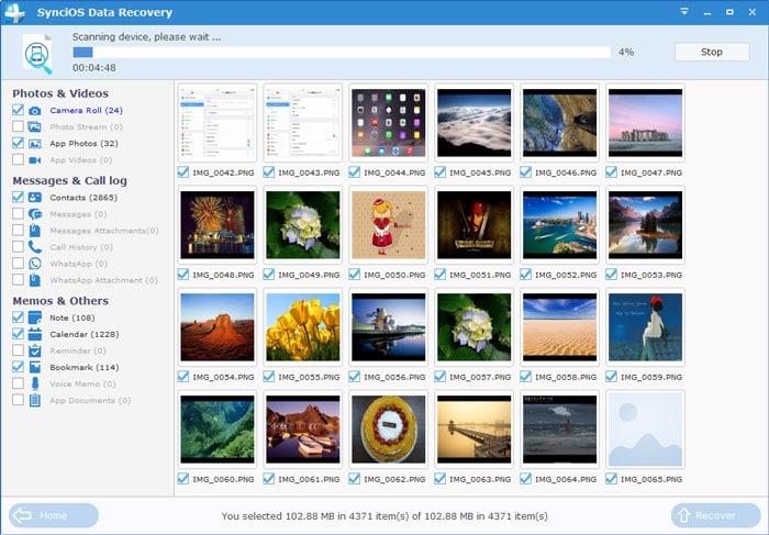 SynciOS Data Recovery برنامج استرجاع الصور والفيديو للايفون والايباد