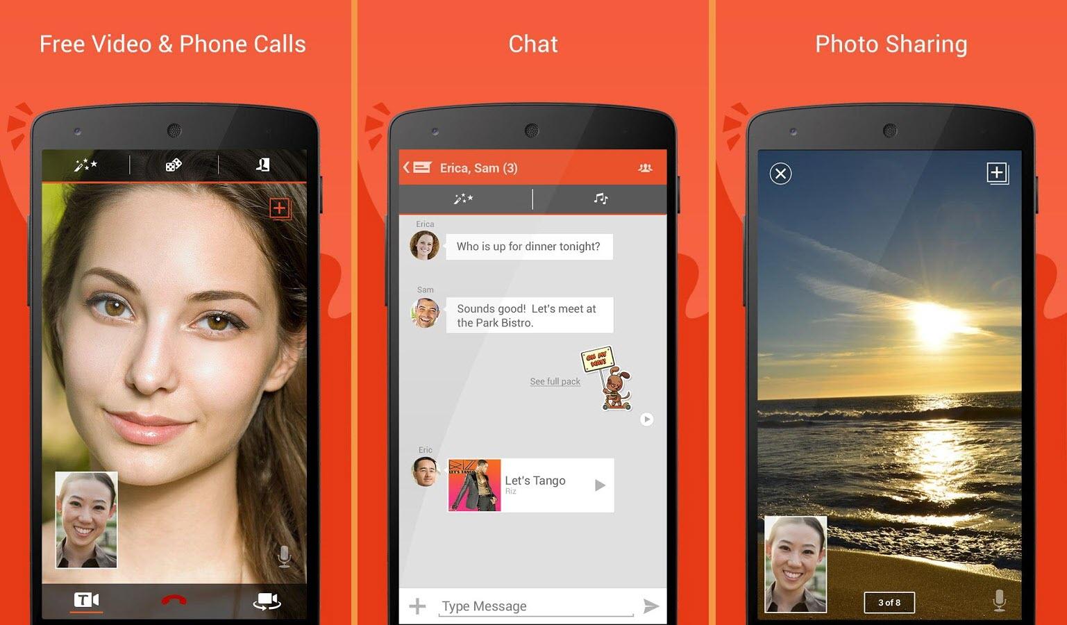 صور تانقو اندرويد ثلاث صور لاستخدامات مختلفه للتطبيق صورة لتشغيل محادثة وصورة لتشغيل مراسلة نصية و صورة لاجراء مكالمة فيديو بطريقة اخرى