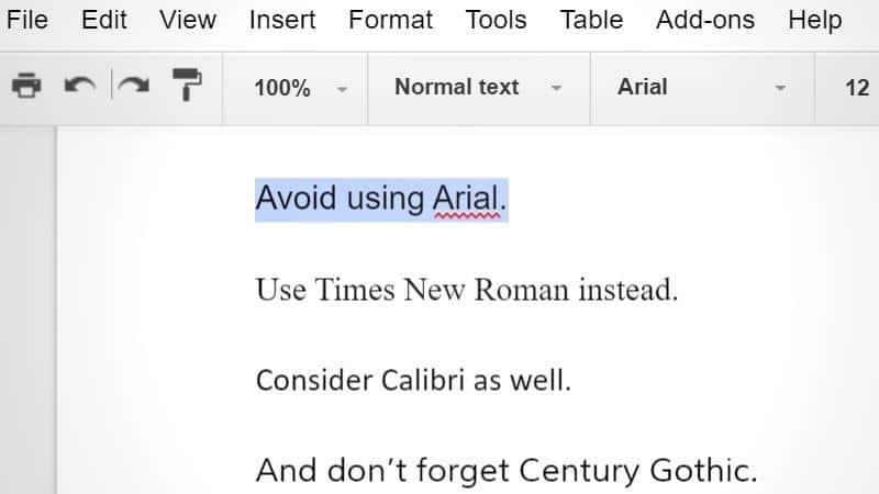 لا تستخدم خط arial واستخدم  Calibri و Century Gothic