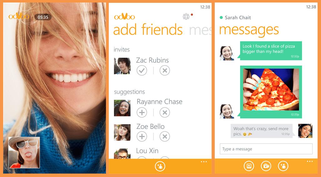 لقطات من تطبيق ooVoo Video Call على ويندوز فون