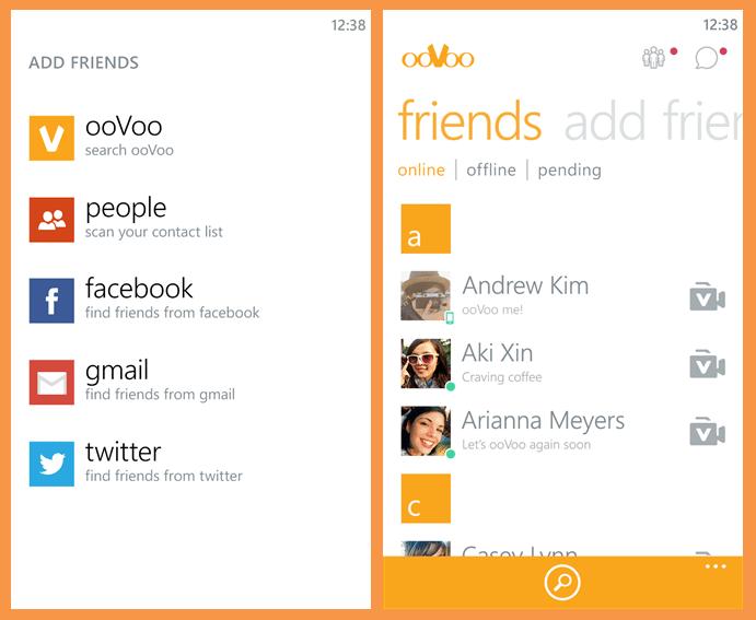 صورة من التطبيق تعرض قائمة الاصدقاء وقائمة البحث عن الاصدقاء في المواقع الاجتماعية للويندوز فون
